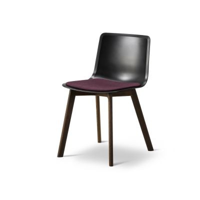 Pato Wood Base Chair Seat Upholstered Oak Black Lacquered, Quartz grey, Remix 2 143