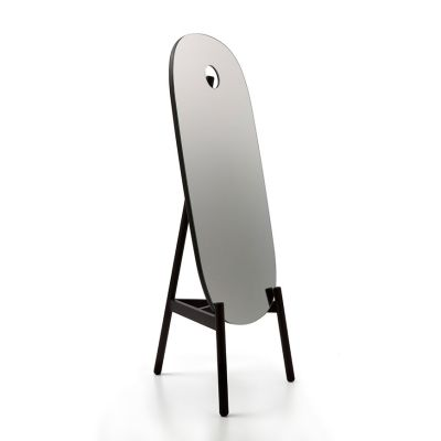 Peg Standing Mirror Black Stained Ash