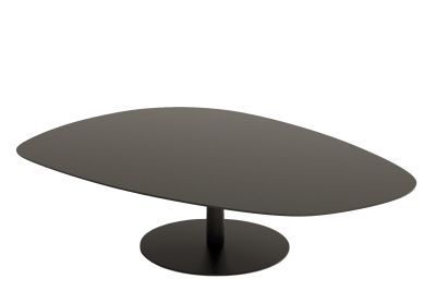 Phoenix Coffee Table with Metal Base Black Laminam Top, Black Matt Base, Large