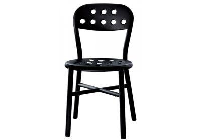 Pipe Chair - Stacking, Set of 2 Black, Dark Beech, Indoor