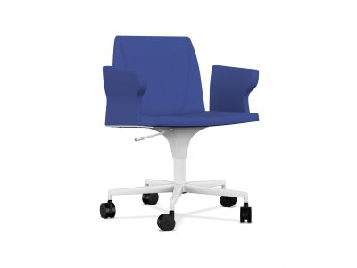 Plate 50 5 base Chair with Castors and Armrests A7244 - Field 762 blue, White lacquered aluminium, Black Plastic, Same on upholstery