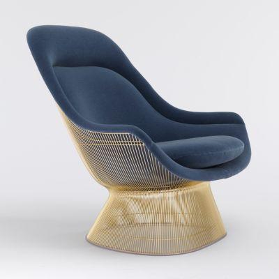 Platner Easy Chair Ultrasuede Cinnamon K10219, polished nickel