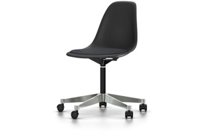 PSCC Eames Plastic Side Chair With Seat Upholstery 01 basic dark, 02 castors hard - braked for carpet, Hopsak 66 nero