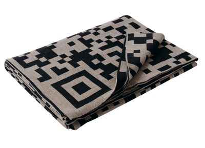 QR-Code Merino Throw  Mud and Beluga Grey