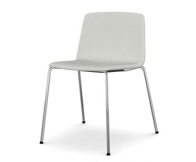 Rama Four Legs Chair Fully Covered Polished Chrome Steel, Divina Melange 2 120