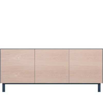 Cubo Rectangular Cabinet 3 Doors Petrol Blue with Latte Oak Fronts