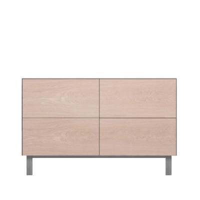 Rectangular Cabinet 4 Drawers Oak, Light Grey