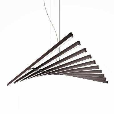 Rhythm Horizontal Pendant Light - 87 cm Height Matt Chocolate Lacquer, 45cm