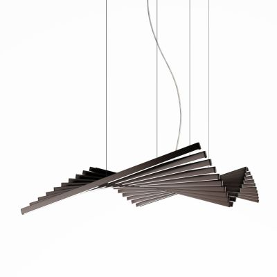 Rhythm Horizontal Pendant Light - 87 cm Height Matt Chocolate Lacquer, 131cm