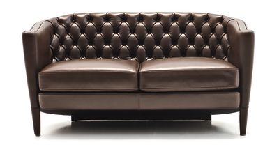 Rich Capitoné 2 Seater Sofa B0211 - Leather Oil cirè, Dark Stained Beech Feet