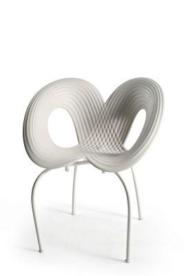Ripple Set of 2 Dining Chairs White Shell, Black Matt Base