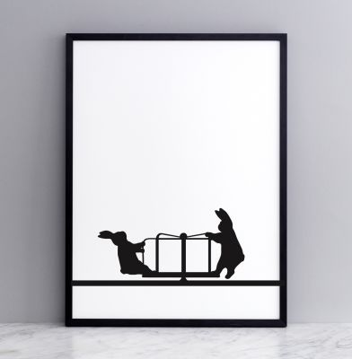 Roundabout Rabbit Screen Print Small