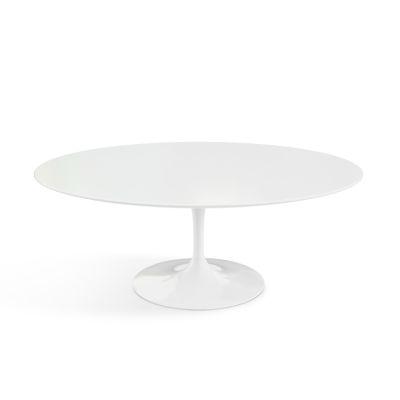 Saarinen Oval Coffee Table Black Base, Marble Verde Alpi Satin Top