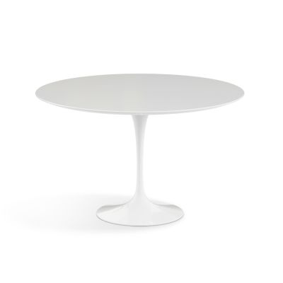 Saarinen Round Dining Table 120cm, White Rilsan Base, Marble Nero Marquina Coated Finish