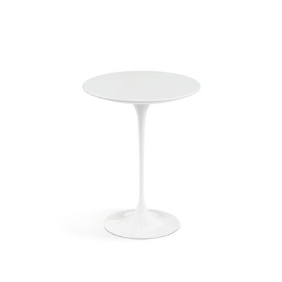 Saarinen Round Side Table Black Base, Coated Black Marble Top, Ø51cm