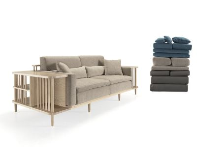 Scaffold Sofa Oak Natural, Lana 007 Canary