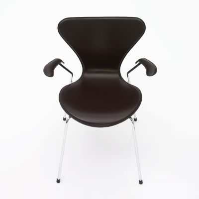 Series 7 Armchair - front upholstered Soft Leather Black, Lacquered and full dark stained OAK