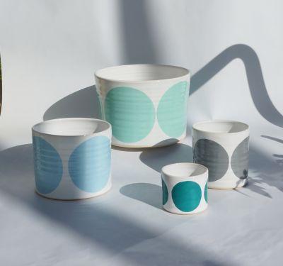 Set of 4 Pots Turquoise, Light Blue, Grey