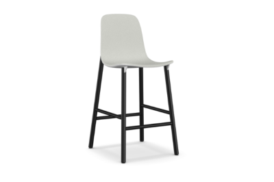 Sharky Alu Stool Highback - Aluminium Base With Seat Upholstery Light blue, White, A4249 - Scuba 005 brown, 77