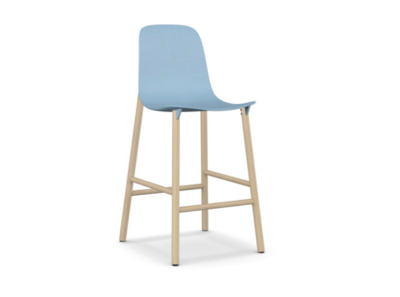Sharky Stool Highback - Wooden Base Light blue, Beech, 76