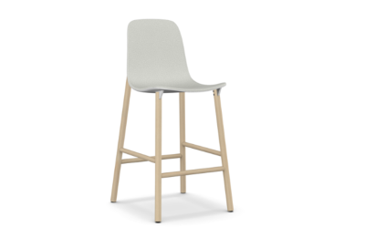 Sharky Stool Highback - Wooden Base With Seat Upholstery Light blue, White, A4249 - Scuba 005 brown, 77