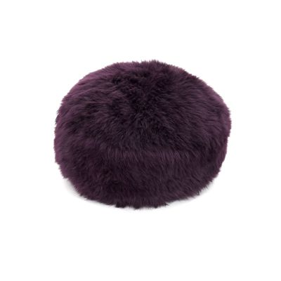 Sheepskin Baa Pouffe in Aubergine