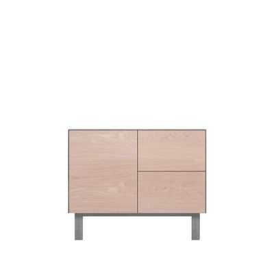 Sideboard 1 Door & 2 Drawers Oak, Light Grey