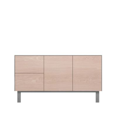 Sideboard 2 Doors & 2 Drawers Oak, Light Grey