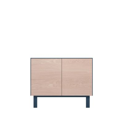 Sideboard 2 Doors Oak, Petrol Blue