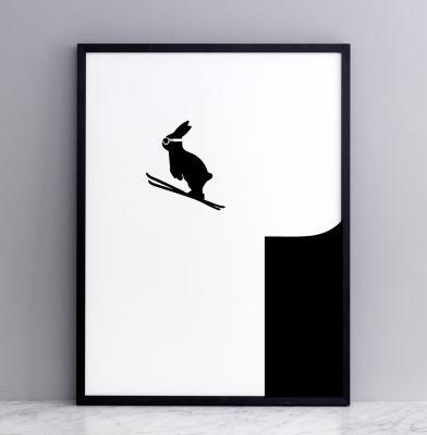 Ski Jumping Rabbit Screen Print Large