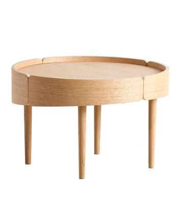 Skirt coffee table Medium, Matt white pigmented lacquered oak