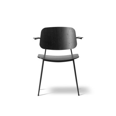 Soborg arm chair, steel frame Oak lacquered, Chrome