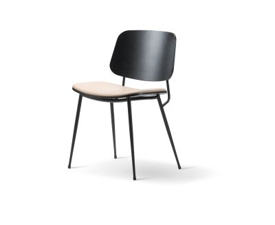 Soborg chair, steel frame, seat upholstered Oak smoked stained, Leather 90 Nature, Chrome