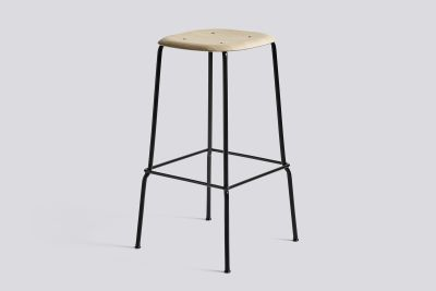 Soft Edge Bar Stool with Metal Frame and Footrest Matt Lacquered Seat, Black Base, High