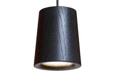 Solid Cone Pendant Light Black Stained Oak