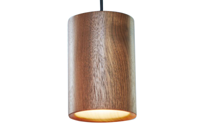 Solid Cylinder Pendant Light  Walnut