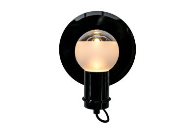 Solitario Small Wall Lamp Polished Black Nickel, Smoke