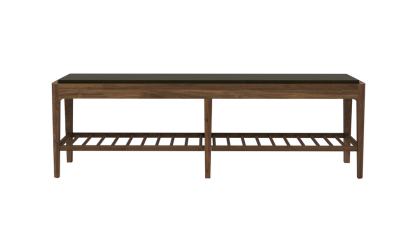 Spindle bench - with upholstery Walnut