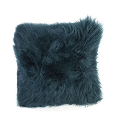 Square Sheepskin Cushion Teal