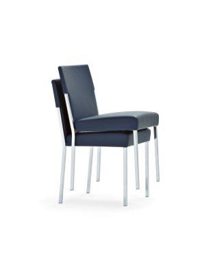 Steel Stackable Chair B0211 - Leather Oil cirè, Chrome Steel  Base