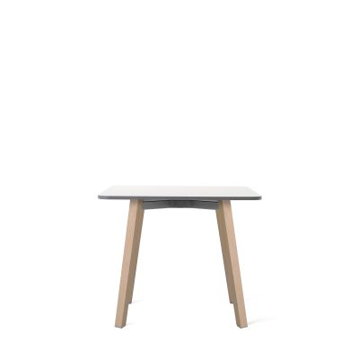 Su Side Table Natural Wood, White Laminate