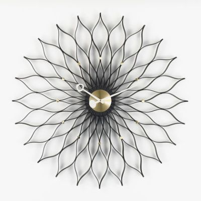 Sunflower Clock black ash/brass