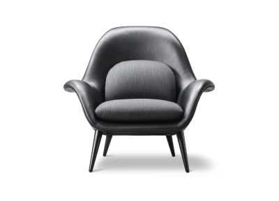 Swoon Armchair Leather Black 88, Balder 192, Smoked Oak Base