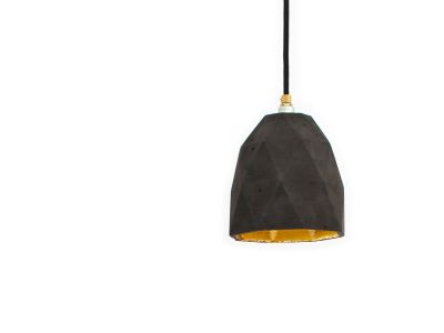 [T1] Pendant Light Triangle Dark Grey Concrete, Gold Plating