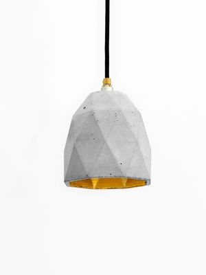 [T1] Pendant Light Triangle Light Grey Concrete, Gold Plating