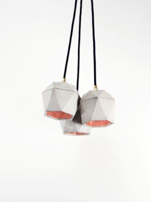 [T2] Bundle Pendant Light Triangle Dark Grey Concrete, Copper Plating