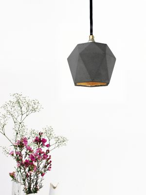 [T2] Pendant Light Triangle Dark Grey Concrete, Gold Plating
