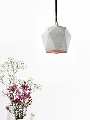 [T2] Pendant Light Triangle Light Grey Concrete, Copper Plating