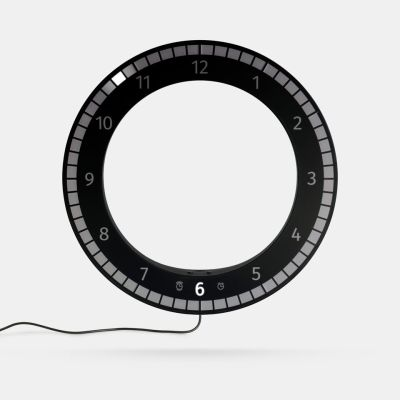 The Only Clock // Black & Black. Wall / Desk Digital LED clock. Original KIBARDIN product The Only Clock // Black & Black
