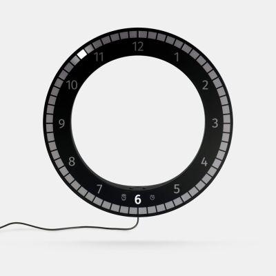 The Only Clock // Black & Black. Wall / Desk Digital LED clock. Original KIBARDIN product The Only Clock // Black & Black
